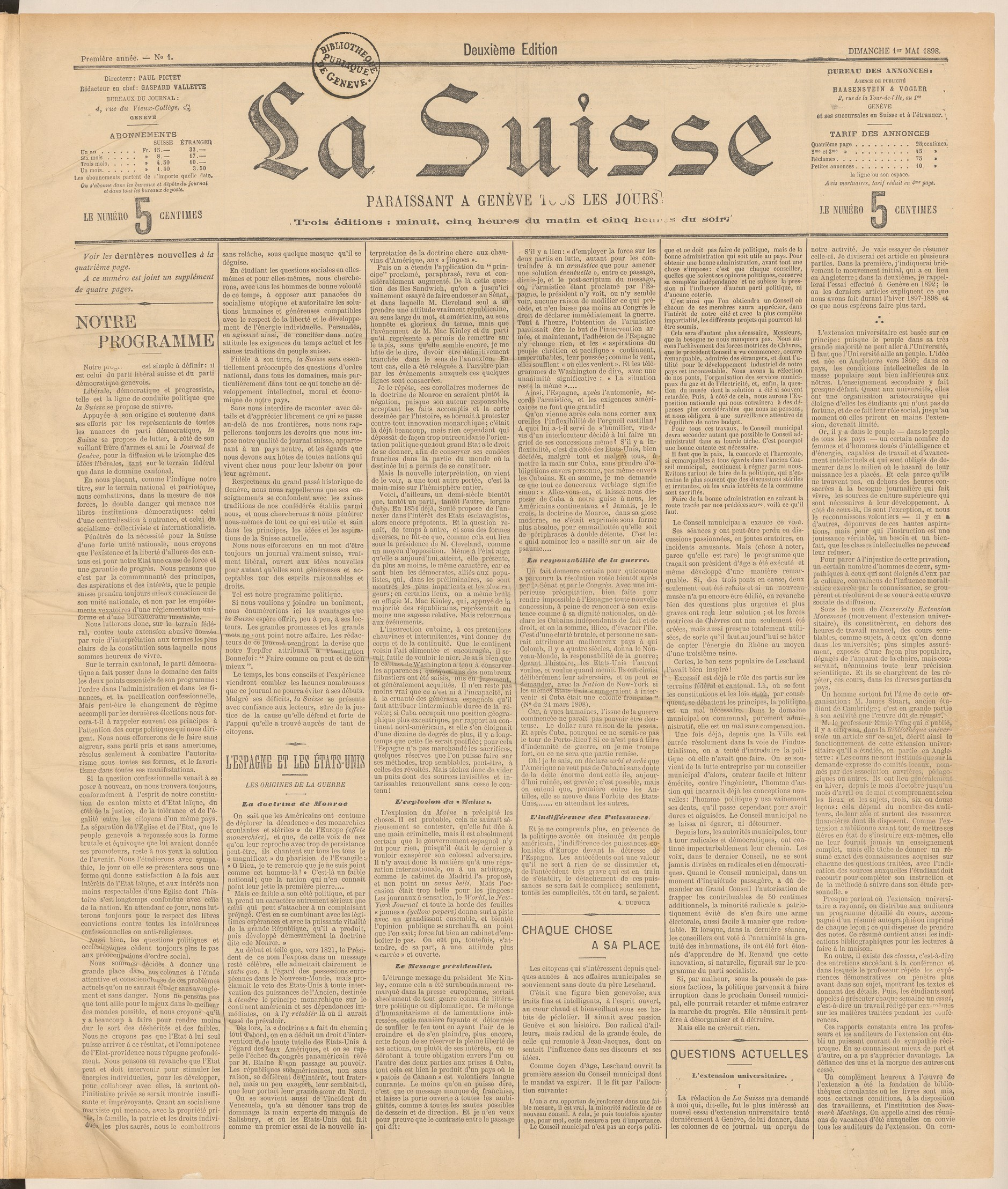 La Suisse, 01.05.1898