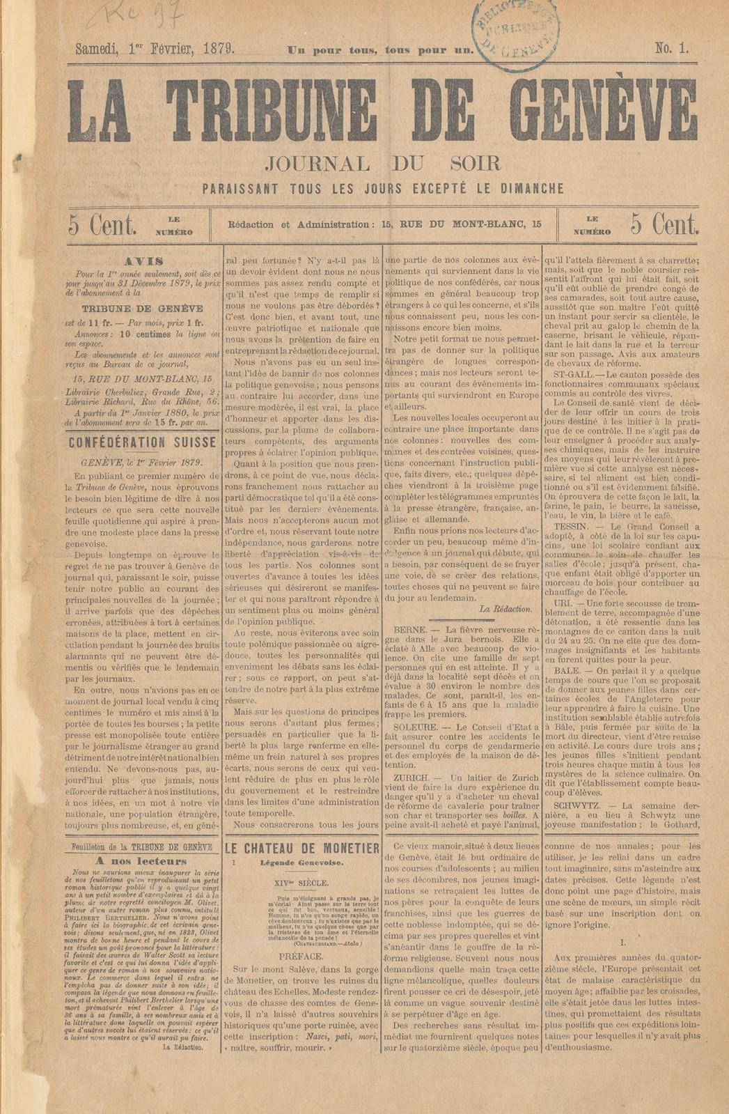 Tribune de Genève, 01.02.1879