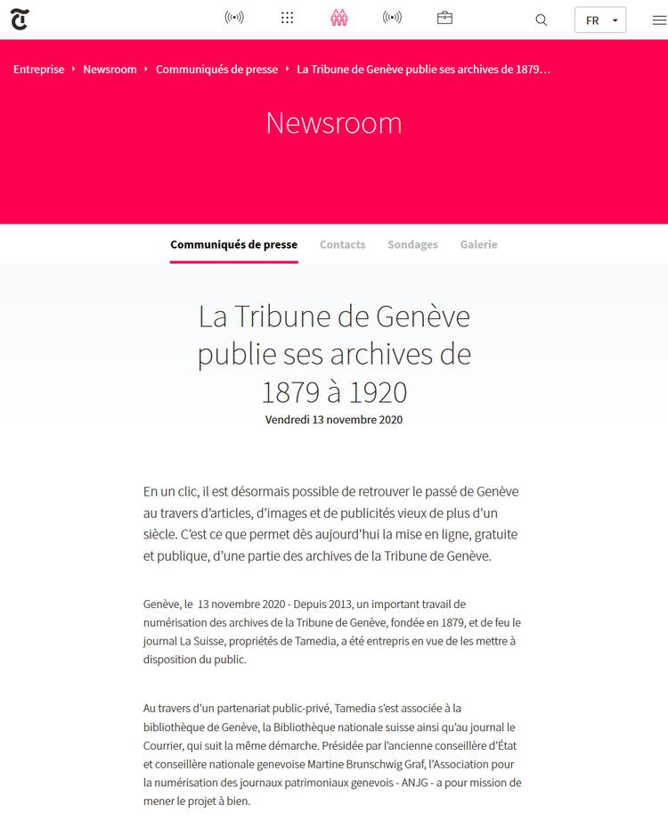 Communiqué 13.11.2020, Tribune de Genève