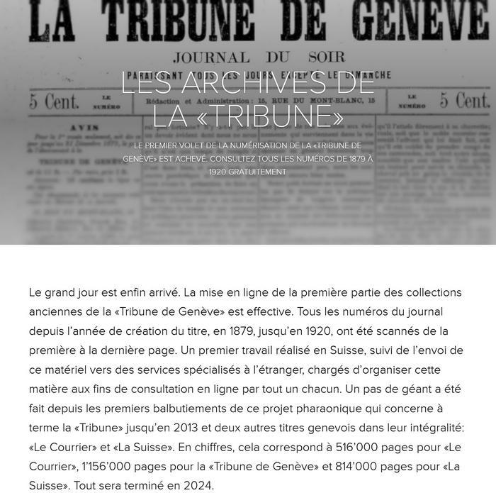 Tribune de Genève 14.11.2020